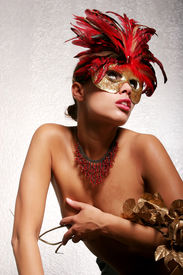 image of mardi gras mask  - Sexy African American woman in mask - JPG