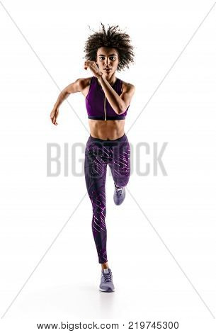 poster of Young african girl runner in silhouette on white background. Dynamic movement. Sport and healthy lifestyle.