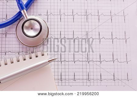 poster of Blue stethoscope and cardiogram pulse trace concept for cardiovascular medical exam. Medical and health concept.