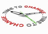 Time for change improve for the better evolve and innovate clock indicating improvement changing the