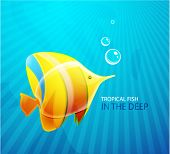 Tropical fish in the deep. Vector eps10 background