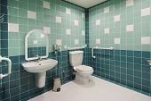 stock photo of handicap  - handicap toilet located in a public area