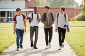 Group Of Male Teenage Students Walking Around College Campus poster