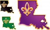 stock photo of bayou  - Louisiana state icons in purple - JPG
