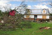 SAINT LOUIS, MO - APRIL 22: Destruction left behind by tornadoes that ravaged the area. April 22, 20