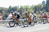 RUNNING SPRINGS, CA - MAY 21: Cyclists take on the Mountain stage in the  Amgen Tour of California o