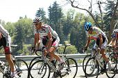 RUNNING SPRINGS, CA - MAY 21: The Peloton races up Highway 18 on Stage 6 of the Amgen Tour of Califo