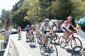 RUNNING SPRINGS, CA - MAY 21: Cyclists struggle of highway 18 on Stage 6 of the Amgen Tour of Califo