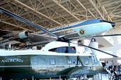 SIMI VALLEY, CA - JULY 24: Air Force One and Marine One on display at the Reagan Presidential Librar