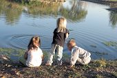 Three Preschoolers At The Pond