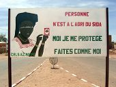 Aids Sign On The Street In Niamey