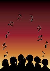 image of children group  - silhouette of children - JPG