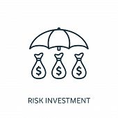 Risk Investment Outline Icon. Thin Line Concept Element From Risk Management Icons Collection. Creat poster