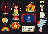 circus set. A circus set with various elements.(a clown,a tightrope Walker,a circus tent,a curtain,a