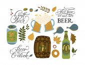Beer Festival Vector Illustrations With Lettering Quotes. Oktoberfest Icon Collections With Barrel,  poster