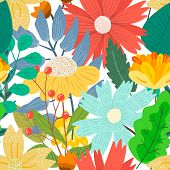 Cute Bright Light Floral Seamless Pattern With Mess Of Hand Drawn Flowers And Leaves On White Backgr poster