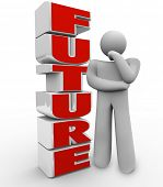 image of upcoming  - The word Future beside a person thinking - JPG
