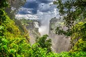 Victoria falls is a popular touristic destination in Africa at the border between Botswana, Zimbabwe poster