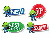 Alien Character Selling Stickers