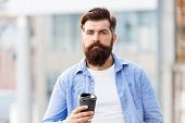 Great Ideas Come From Great Coffee. Man Drink Take Away Coffee. Bearded Man Relax Outdoors. Coffee B poster