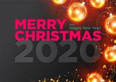 Christmas 2020 Vector Background Design. Happy New Year 2020 Luxury Greeting Card. Elegant Festive X poster