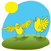 Joyful chicken welcomed friend. Vector illustration.
