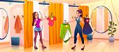 People In Store Fitting Room Try On Clothes, Saleswoman Bring Garment To Girl Stand In Dressing Cabi poster