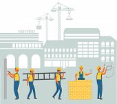 Cityscape Vector, Men Wearing Uniform Vector. People Working On Construction Area Cityscape And Cran poster