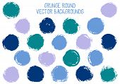 Vector Grunge Circles Isolated. Cool Watercolor Stamp Texture Circle Scratched Label Backgrounds. Ci poster
