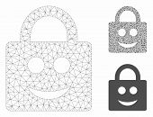 Mesh Smiled Lock Model With Triangle Mosaic Icon. Wire Frame Polygonal Network Of Smiled Lock. Vecto poster