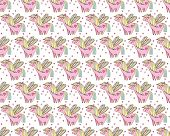 Childrens Seamless Pattern. Cute, Happy Pink Ponies Among Hearts On White Background In Vector. Fair poster