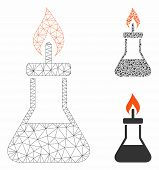 Mesh Spirit Lamp Fire Model With Triangle Mosaic Icon. Wire Carcass Polygonal Mesh Of Spirit Lamp Fi poster