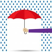 Hand Holding Umbrella Under Raindrops, Simple Design, Simple Flat Design poster