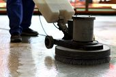 stock photo of janitor  - Cleaning machine washing the floor in a mall