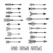 Hand Drawn Vintage Arrows. Tribal Sketch Elements Set. Hand Drawn Ethnic Collection With Doodle Arro poster