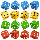 Game dice set. Vector red, yellow, green and blue icons