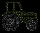 Glowing Mesh Wheeled Tractor With Glare Effect. Abstract Illuminated Model Of Wheeled Tractor Icon.  poster