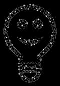 Glowing Mesh Smile Bulb With Sparkle Effect. Abstract Illuminated Model Of Smile Bulb Icon. Shiny Wi poster