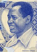 GUINEA BISSAU - CIRCA 1990: Francisco Mendes (1939-1978) on 500 Pesos 1990 Banknote from Guinea Biss