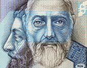 SLOVAKIA - CIRCA 2005: Saints Cyril and Methodius on 50 Korun 2005 Banknote from Slovakia. Byzantine Greek brothers who became missionaries of Christianity.