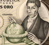 COLOMBIA  - CIRCA 1983: Francisco Jose de Caldas (1768-1816) on 20 Pesos Oro 1983 Banknote from Colo