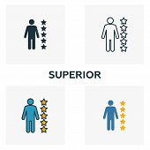 Superior Icon Set. Four Elements In Diferent Styles From Business Ethics Icons Collection. Creative  poster