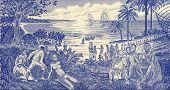 GUINEA BISSAU - CIRCA 1990: Slave Trade Scene on 500 Pesos 1990 Banknote from Guinea Bissau.