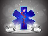 Shining Aesculapius or  Medical Icon on stand banner presentation  or template design, editable Vect