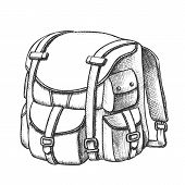 Tourist Travel Backpack Suitcase Monochrome Vector. Standing Suitcase Bag For Trip Accessories. Bagg poster