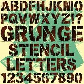 A Set of Grunge Stencil Letters