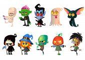 Set Of Halloween Characters. Cartoon Ummy, Zombie, Vampire, Ghost, Bat, Death, Witch, Pumpkin Head.  poster