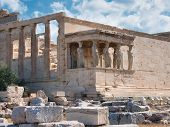 Popular Athens Sightseeing Ancient Temple Erechtheion And Its Caryatids In Acropolis Opened For Visi poster