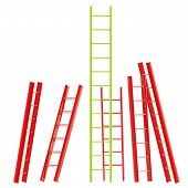 Red and green glossy ladder isolated