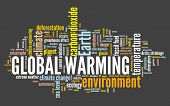 Global Warming Word Cloud. Climate Change Concept. Earth Climate Catastrophe. poster